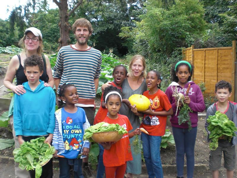 Family harvesting workshop as part of Streatham Food Festival, August 2013